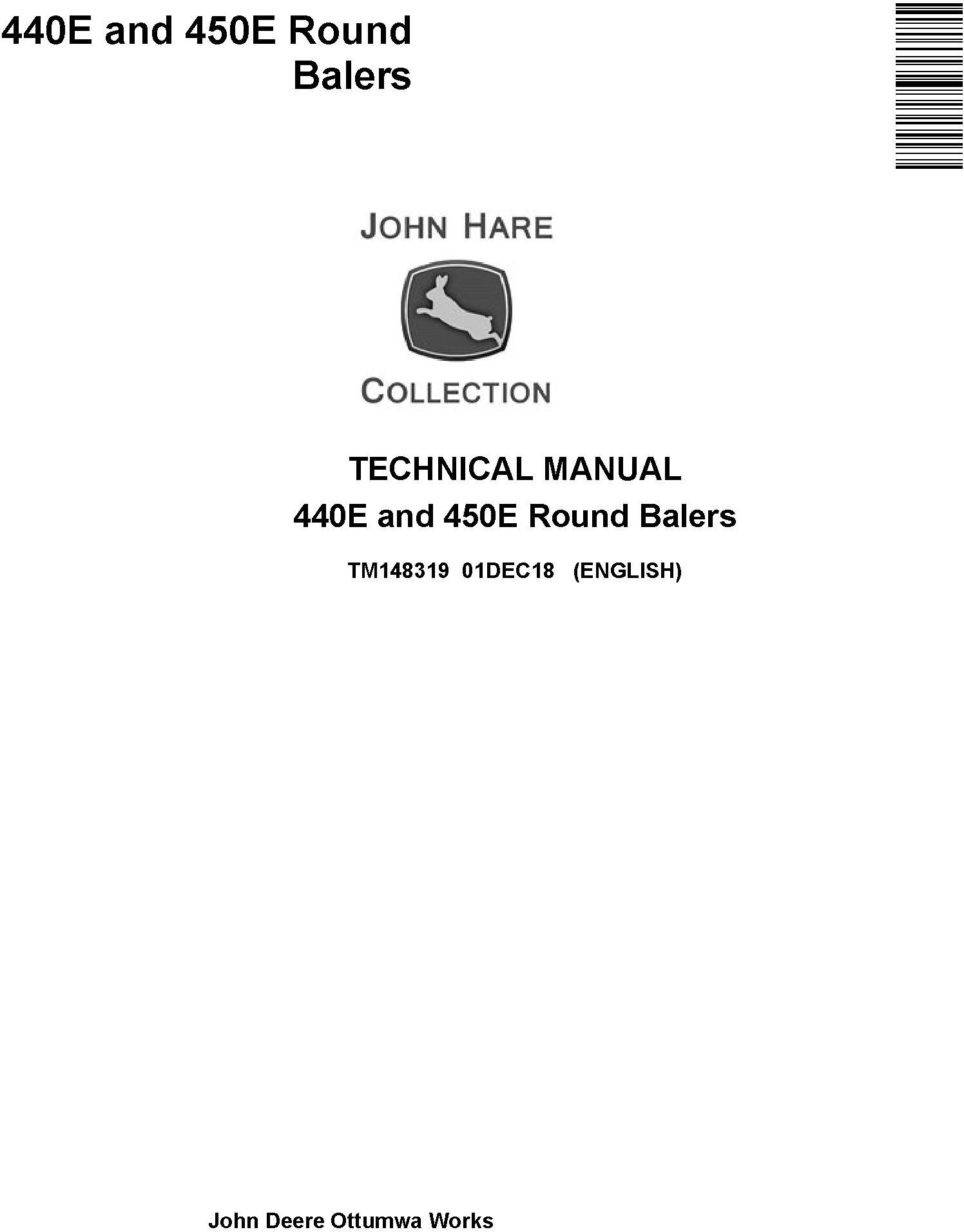 John Deere 440E and 450E Round Balers Technical Service Manual (TM148319) - 19247