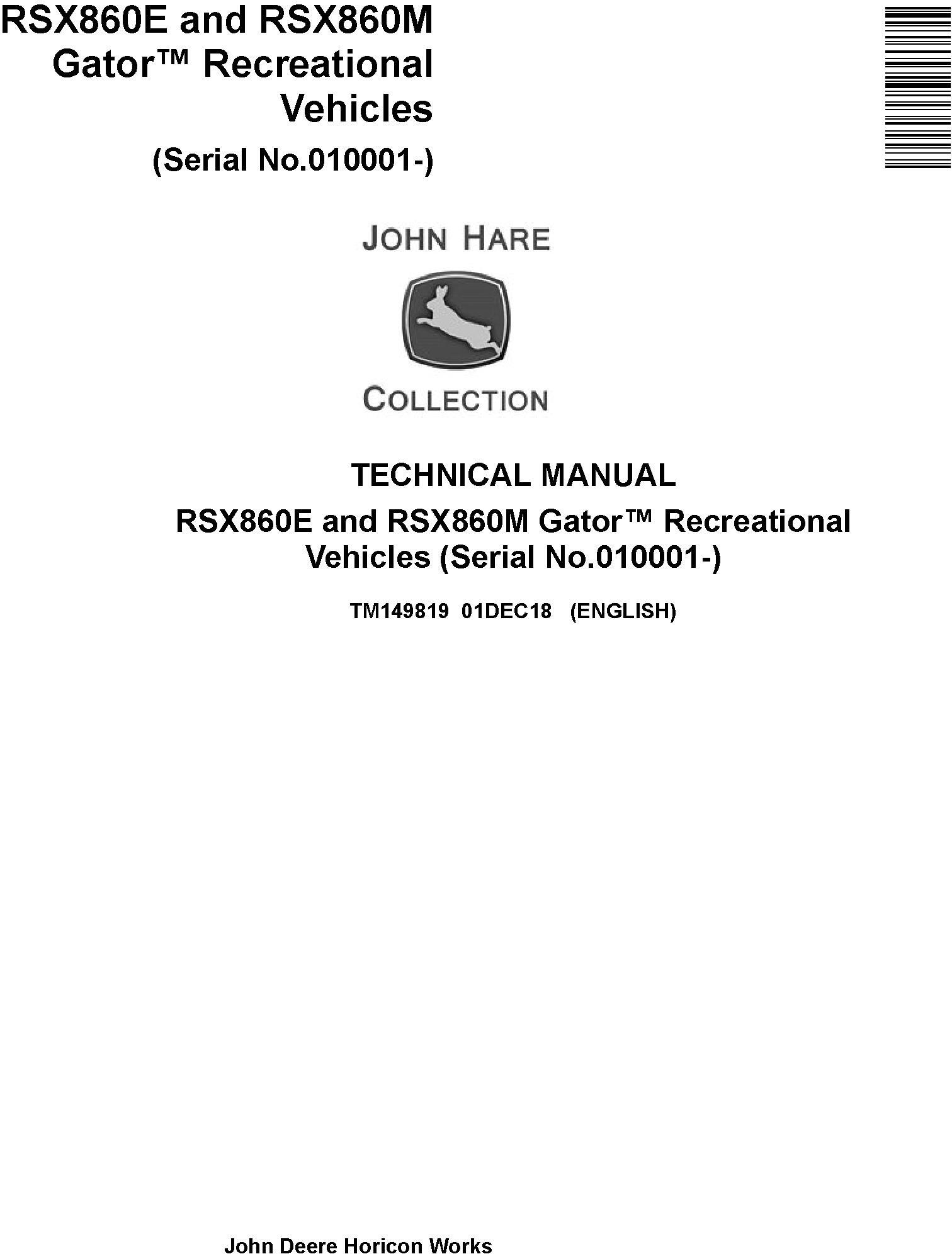 John Deere RSX860E and RSX860M Gator Recreational Vehicles (SN.010001-) Technical Manual (TM149819) - 19298
