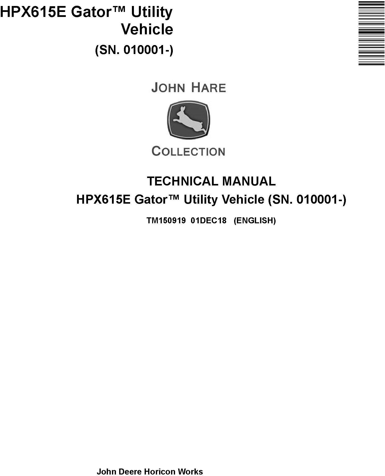 John Deere HPX615E Gator Utility Vehicle (SN. 010001-) Technical Manual (TM150919) - 19301