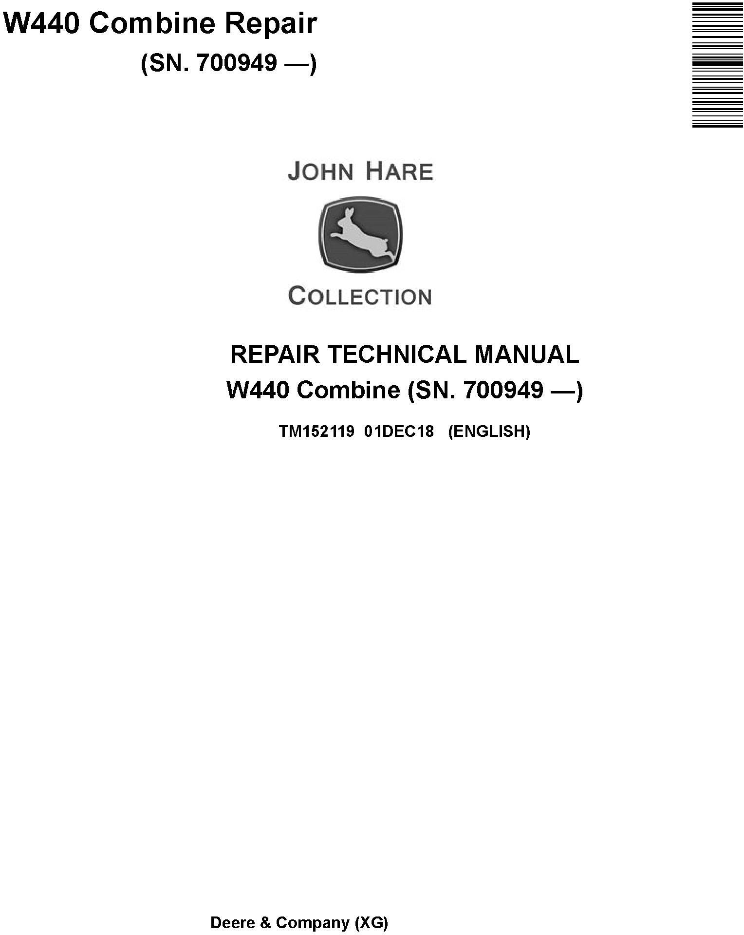 John Deere W440 Combine (SN.700949-) Repair Technical Manual (TM152119) - 19224