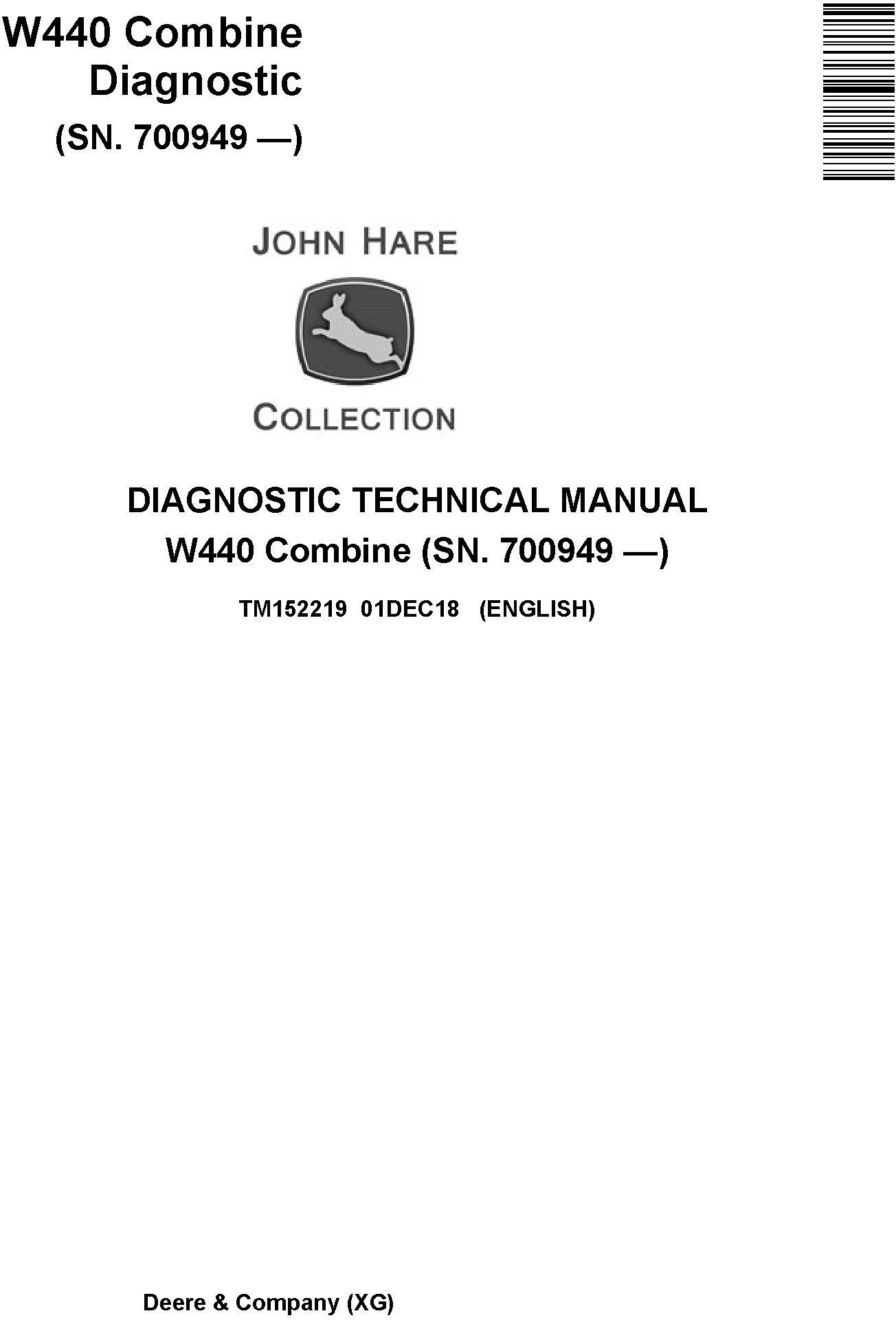 John Deere W440 Combine (SN.700949-) Diagnostic Technical Manual (TM152219) - 19225