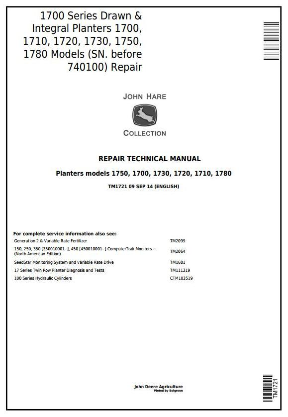 TM1721 - John Deere 1700, 1710, 1720, 1730, 1750, 1780 Planters (SN.-740100) Technical Service Manual - 18084
