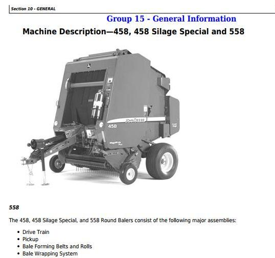 TM1735 - John Deere 458, 558, 458 Silage Special Round Balers Service Repair Technical Manual - 18190