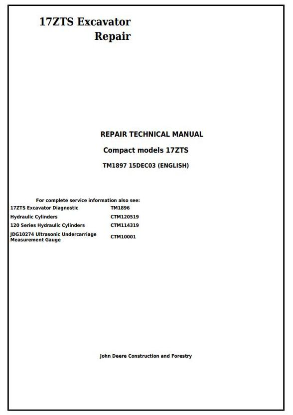 TM1897 - John Deere 17ZTS Compact Excavator Service Repair Technical Manual - 17753