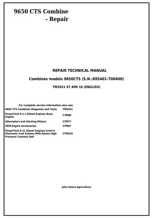 TM2021 - John Deere 9650 CTS Combine (SN. 695401-700400) Service Repair Technical Manual - 17995