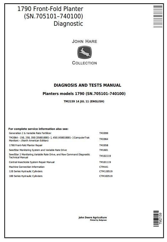 TM2159 - John Deere 1790 Front-Fold Planters (SN.705101–740100) Diagnostic and Tests Service Manual - 18096