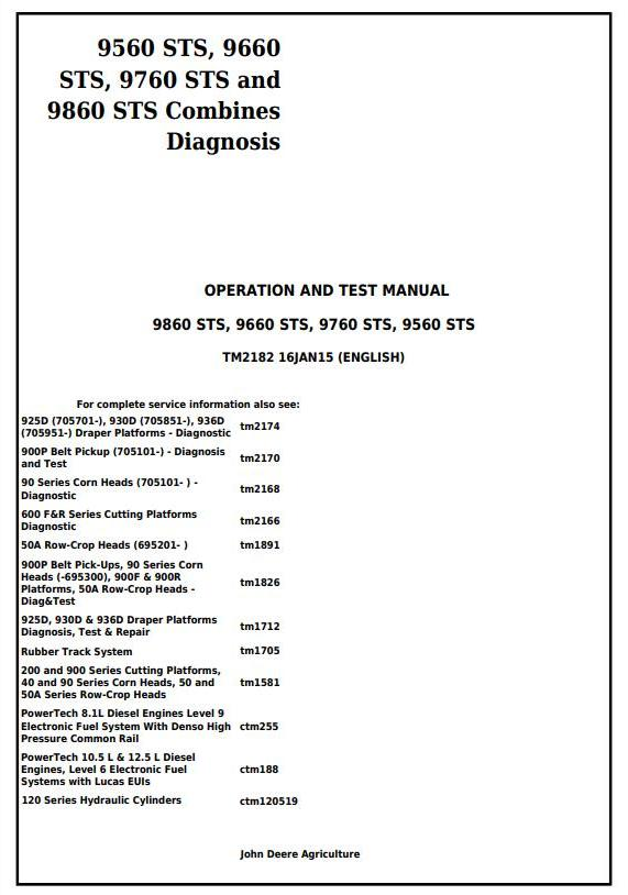 TM2182 - John Deere 9560STS, 9660STS, 9760STS and 9860STS Combines Diagnosis and Test Service Manual - 18004