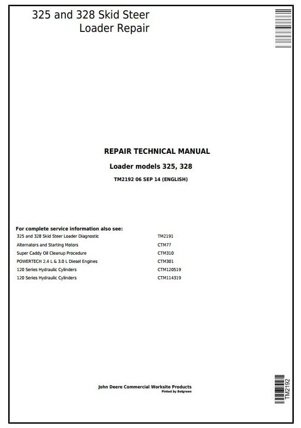 TM2192 - John Deere 325 and 328 Skid Steer Loader Service Repair Technical Manual - 17581