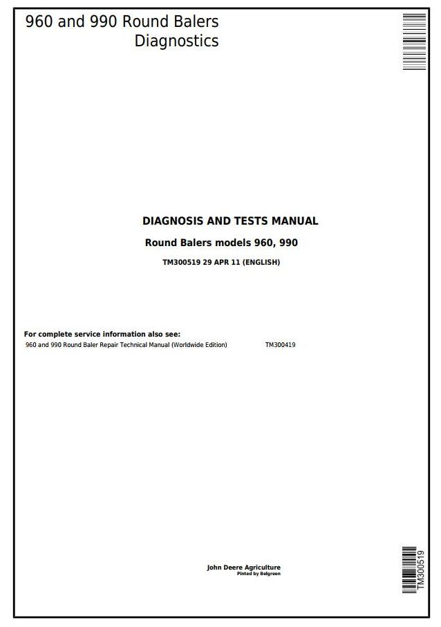 TM300519 - John Deere 960, 990 Hay and Forage Round Balers Diagnostics and Tests Service Manual - 18215