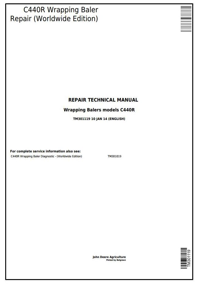 TM301119 - John Deere C440R Round Hay and forage Wrapping Baler Service Repair Technical Manual - 18221