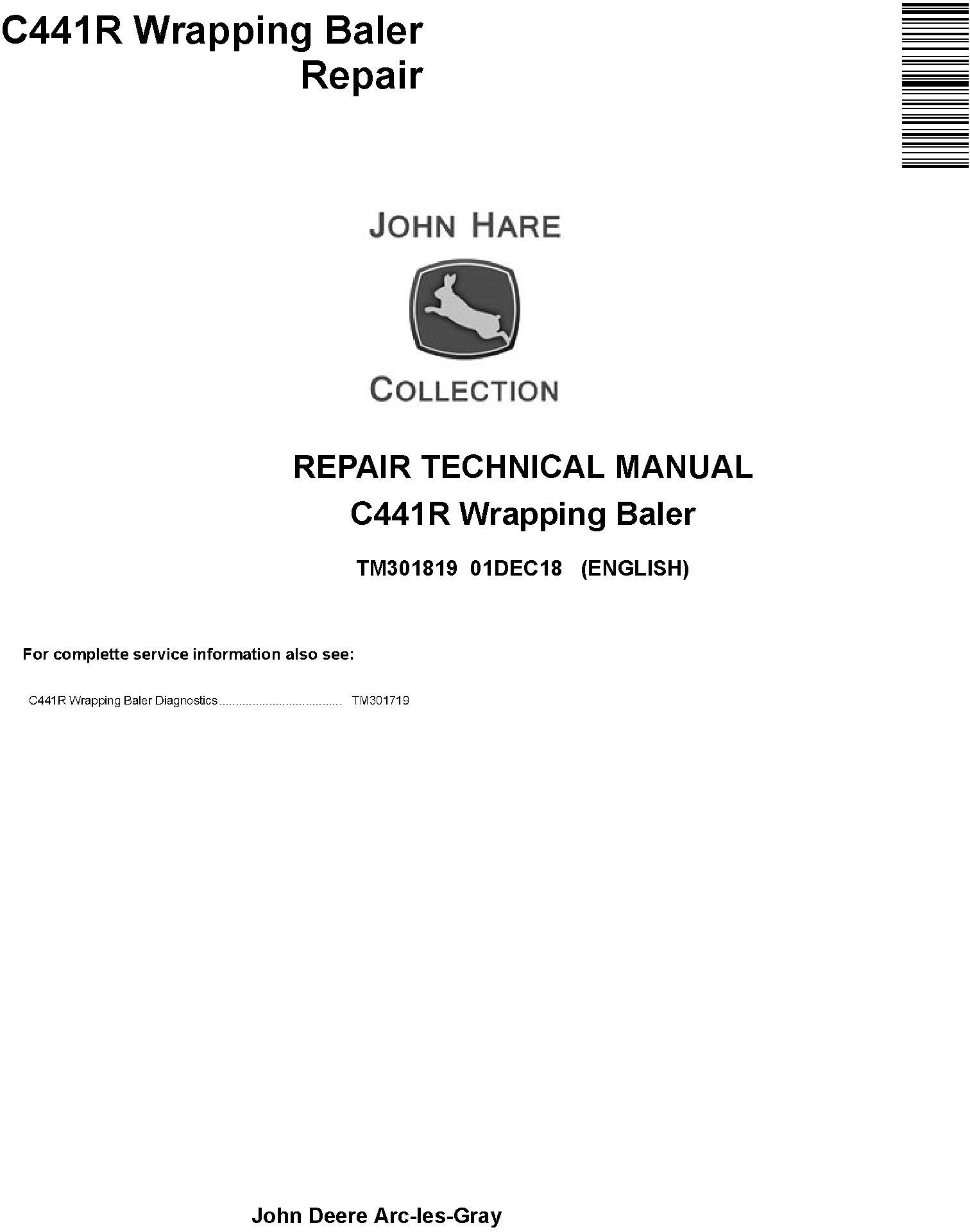 John Deere C441R Wrapping Baler Service Repair Technical Manual (TM301819) - 19253