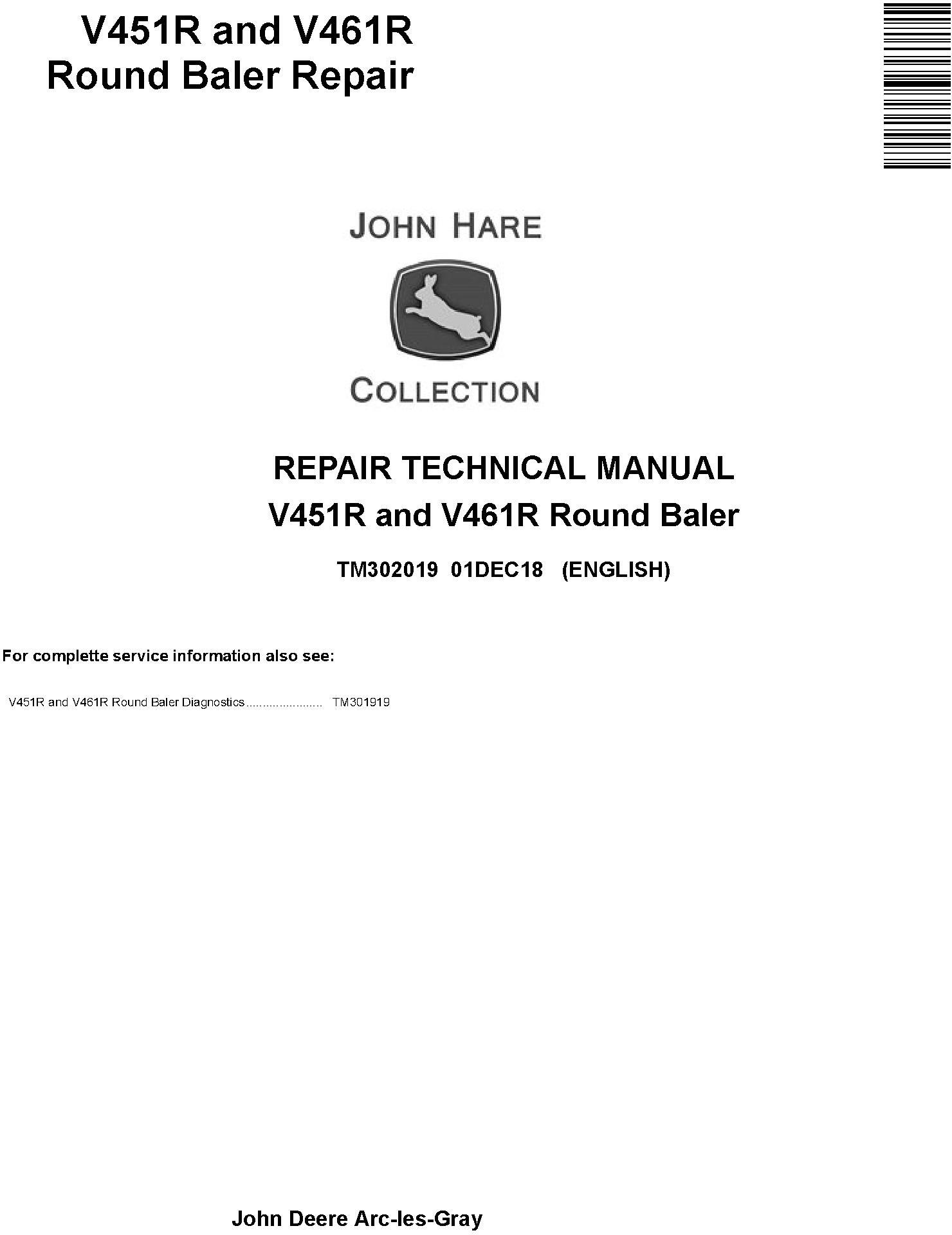 John Deere V451R and V461R Round Baler Service Repair Technical Manual (TM302019) - 19255