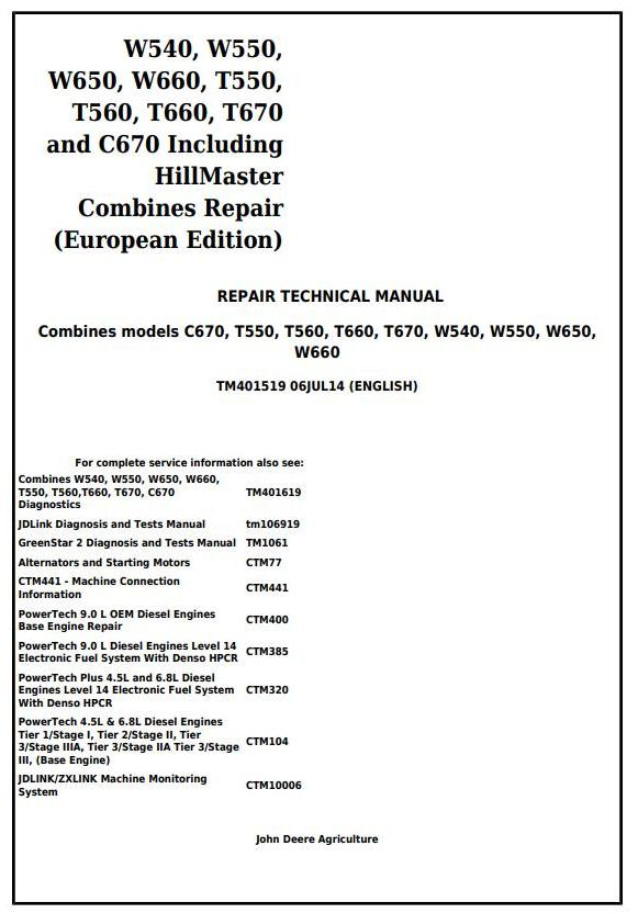 TM401519 - John Deere W540, W550, W650, W660, T550, T560, T660, T670, C670 Combines Service Repair Manual - 18007