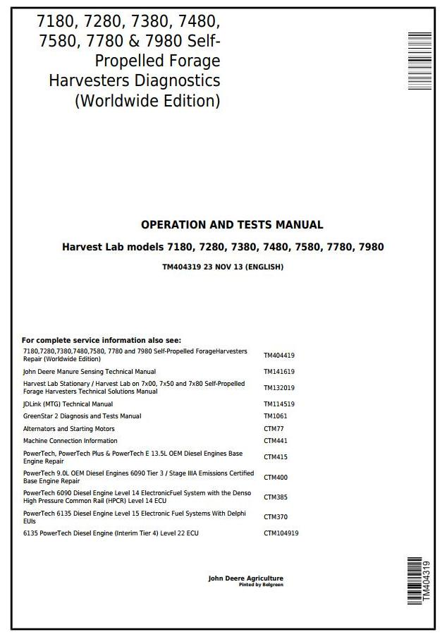 TM404319 - John Deere 7180, 7280, 7380, 7480, 7580, 7780, 7980 Forage Harvesters Diagnostic Service Manual - 18234