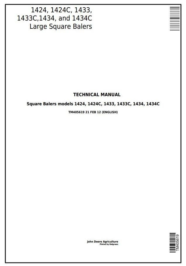 TM405619 - John Deere 1424, 1424C, 1433, 1433C, 1434, 1434C Large Square Balers Technical Service Manual - 18243