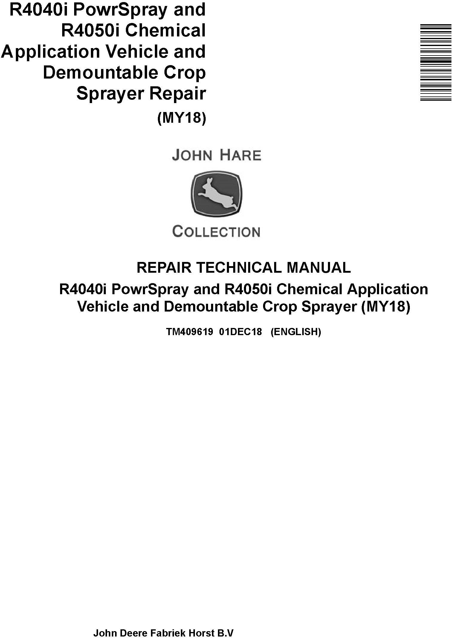 John Deere R4040i, R4050i Demountable Crop Sprayer (MY18) Repair Technical Service Manual (TM409619) - 19261