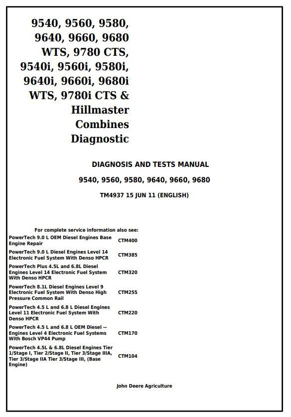 TM4937 - John Deere 9540, 9560, 9580, 9640, 9660, 9680WTS, 9780CTS /i Diagnosis and Tests Manual - 18027