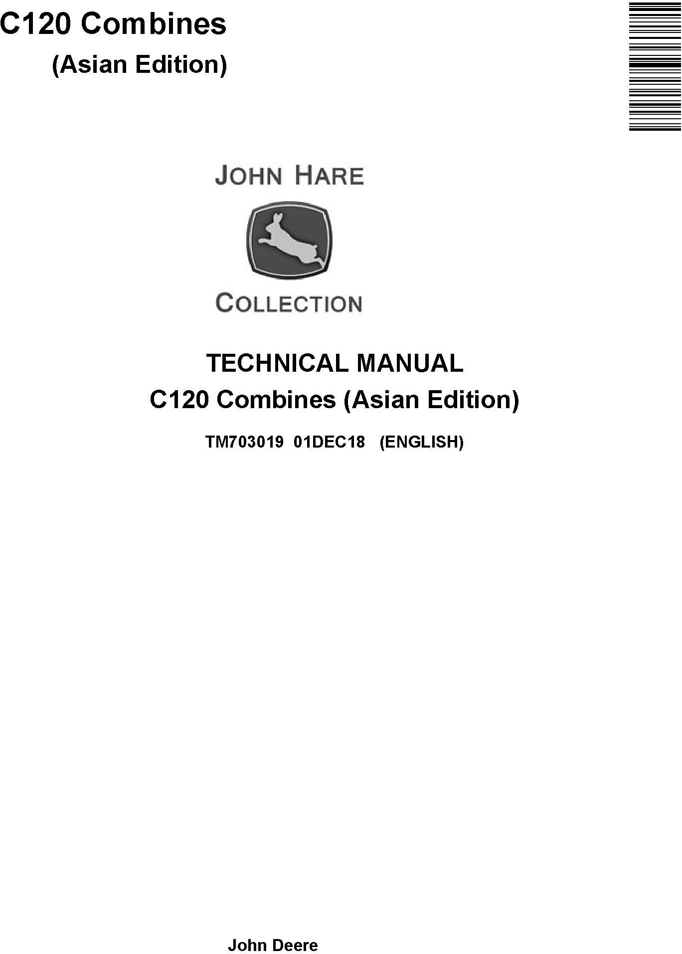 John Deere C120 Combines (Asian Edition) Technical Service Manual (TM703019) - 19233