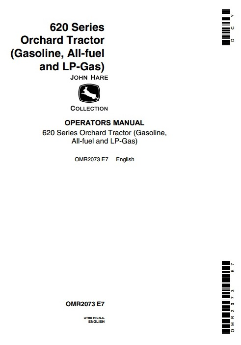 OMR2073 - John Deere 620 Series Orchard Tractor (Gasoline, All-fuel and LP-Gas) Operator's Manual - 18859