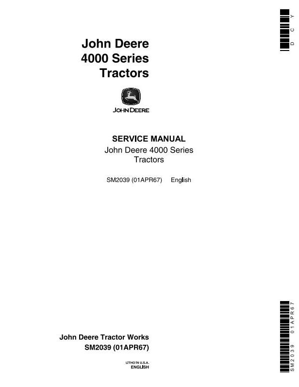 SM2039 - John Deere 4010, 4020 Tractors Service Technical Manual - 18490