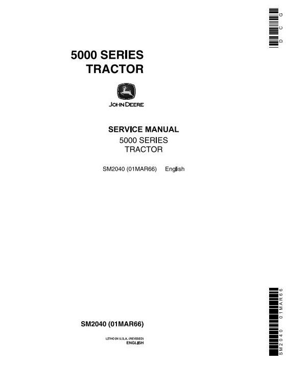 SM2040 - John Deere 5010, 5020 Tractors Diagnostic and Repair Technical Service Manual - 18525