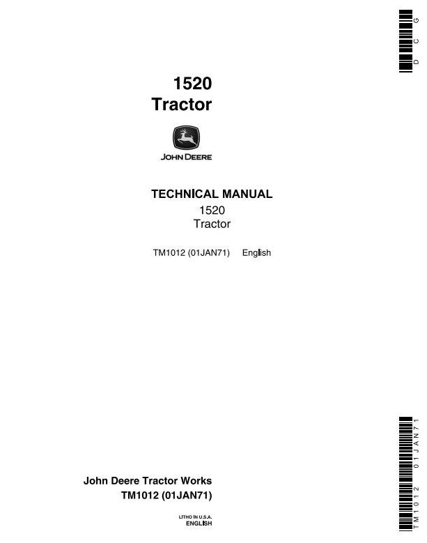TM1012 - John Deere 1520 Utility Tractor Technical Service Manual - 18434