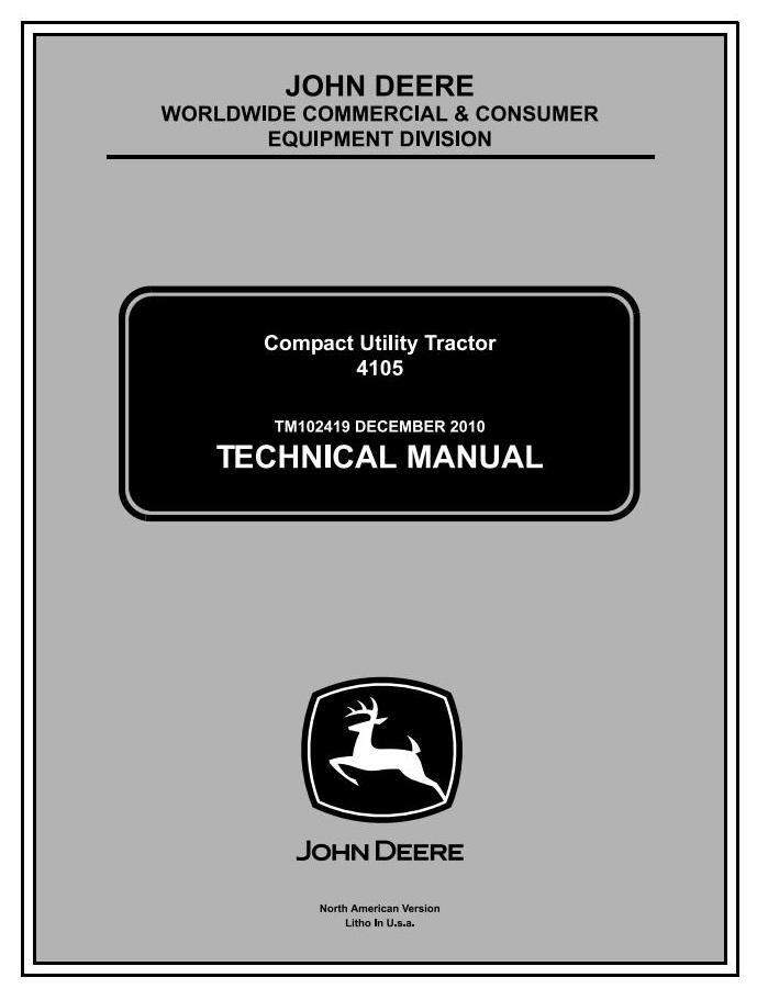 TM102419 - John Deere 4105 Compact Utility Tractors All Incliusive Technical Service Manual - 18494