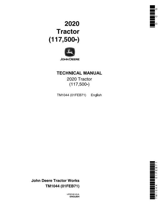 TM1044 - John Deere 2020 Tractors (SN. from 117500) Technical Service Manual - 18455