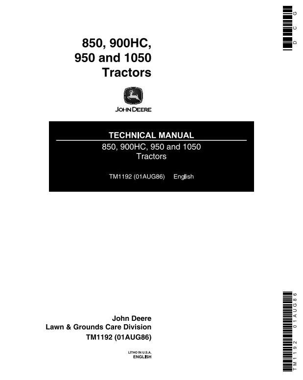 TM1192 - John Deere 1050, 850, 900HC, 950 Utility Tractors Technical Service Manual - 18436