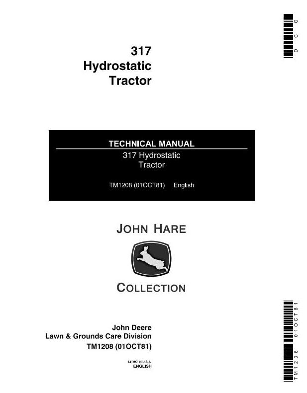 TM1208 - John Deere Hydrostatic Tractor Type 317 All Inclusive Technical Service Manual - 18868
