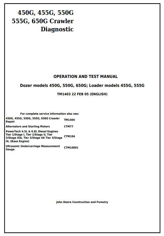 TM1403 - John Deere 450G, 455G, 550G, 555G, 650G Crawler Dozer/Loader Diagnostic Workshop Service Manual - 17450