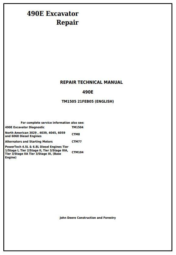 TM1505 - John Deere 490E Excavator Service Repair Technical Manual - 17711