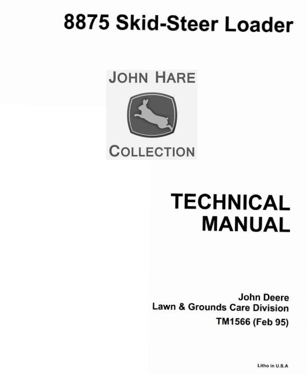 TM1566 - John Deere Skid Steer Loader Type 8875 Service Technical Manual - 17574