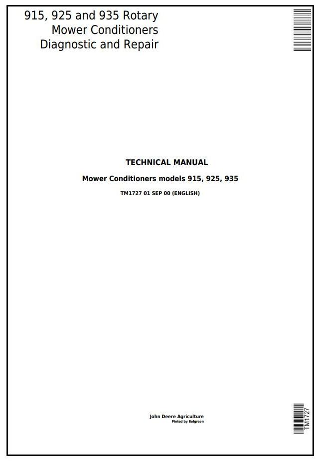 TM1727 - John Deere 915, 925 and 935 Rotary Mower Conditioners All Inclusive Technical Manual - 18188