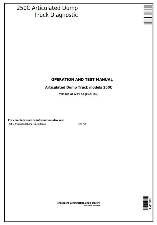 TM1785 - John Deere 250C Truck Articulated Dump Operation and Test Manual - 17285