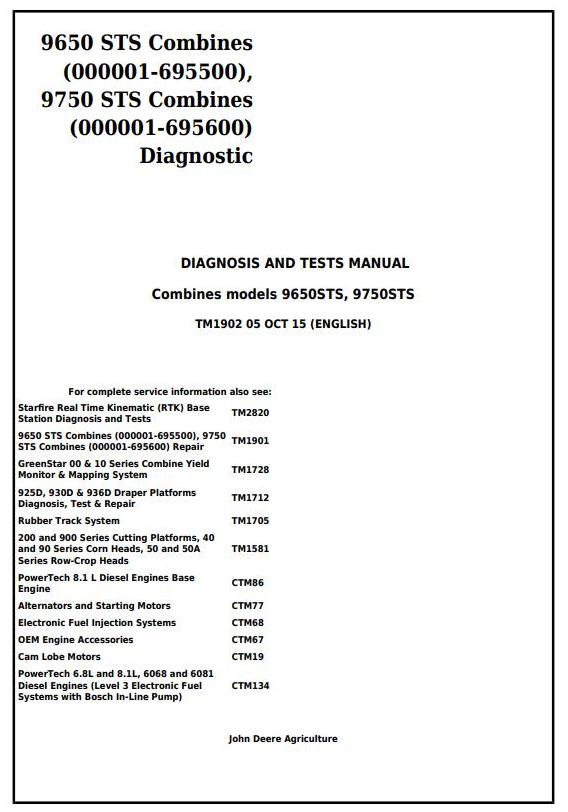 TM1902 - John Deere 9650 STS (SN.-695500) , 9750 STS (SN.-695600) Combines Diagnostic Service Manual - 17992