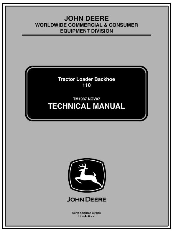 TM1987 - John Deere Backhoe Loader Tractors Diagnostic and Repair Technical Service Manual - 17402