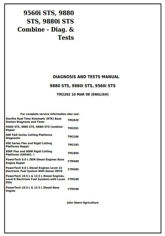 TM2202 - John Deere 9560i STS, 9880 STS, 9880i STS Combines Diagnostc and Tests Service Manual - 18006
