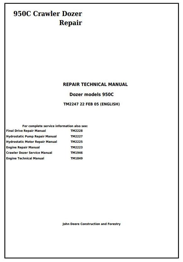 TM2247 - John Deere 950C Crawler Dozer Service Repair Technical Manual - 17461