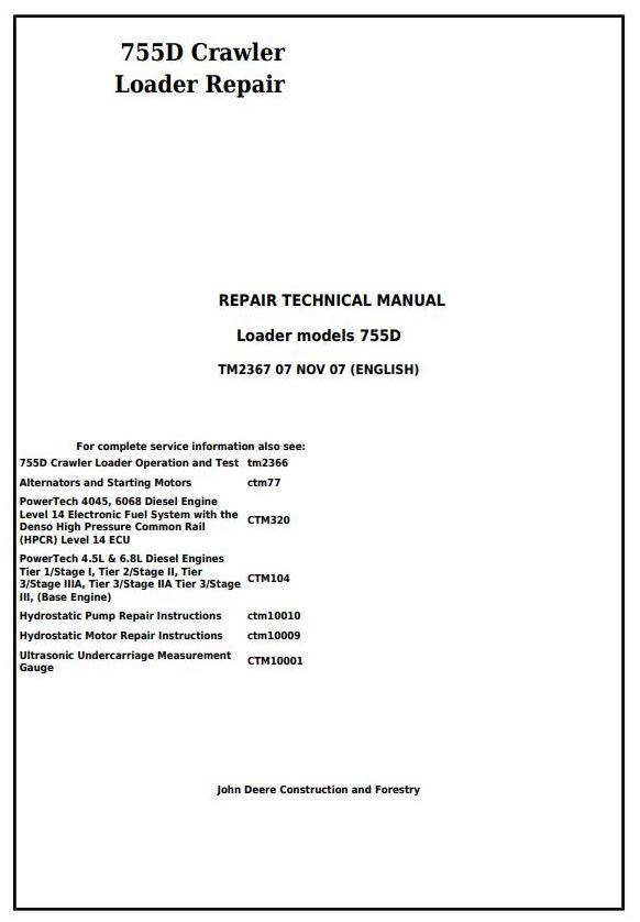 TM2367 - John Deere 755D Crawler Loader Service Repair Technical Manual - 17475