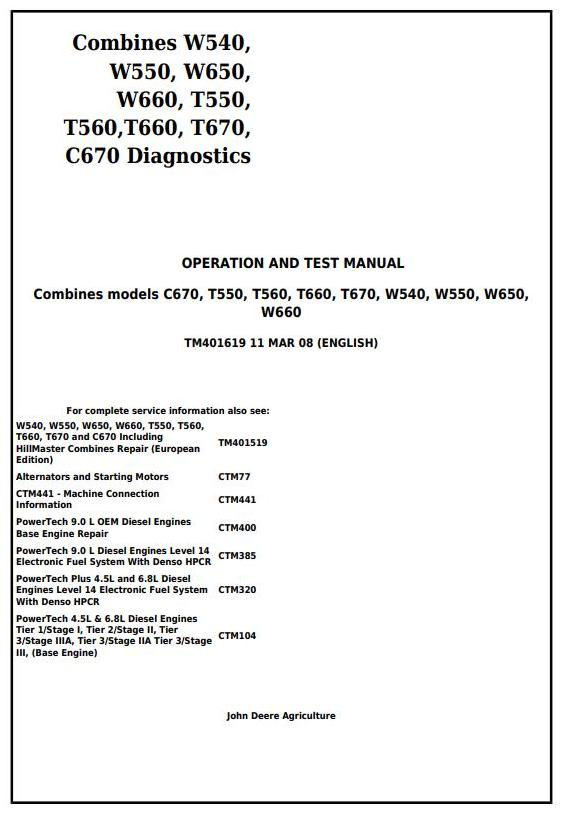 TM401619 - John Deere W540, W550, W650, W660, T550, T560, T660, T670, C670 Combines Diagnostic Manual - 18008