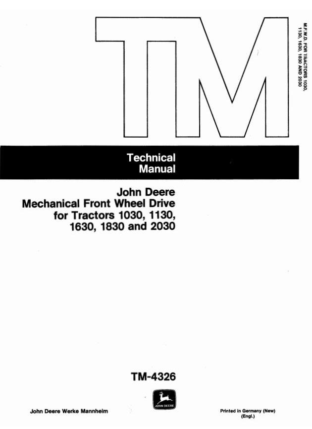 TM4326 - John Deere Front Wheel Drive for 1030, 1130, 1630, 1830, 2030 Tractors Component Technical Manual - 18440