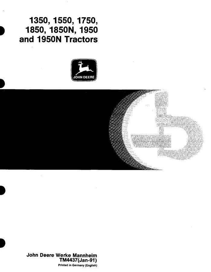 TM4437 - John Deere 1350, 1550, 1750, 1850, 1850N, 1950, 1950N Tractors Technical Service Manual - 18443