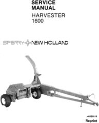 New Holland 1600 Forage Harvester Service Manual