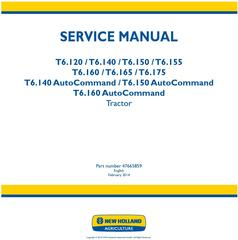 New Holland T6.120, T6.140, T6.150, T6.155, T6.160, T6.165, T6.175 European Tractor Service Manual