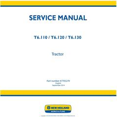 New Holland T6.110, T6.120, T6.130 Tractor Service Manual (Latin America)
