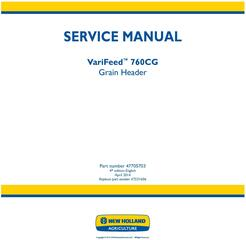 New Holland VariFeed 760CG Grain Header Service Manual