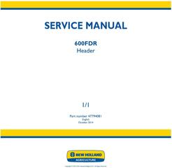 New Holland 600FDR Header (PIN from 6001) Service Manual