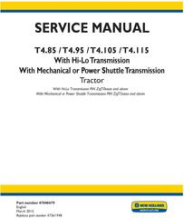 New Holland T4.85, T4.95, T4.105, T4.115 Tractor Complete Service Manual (North America)