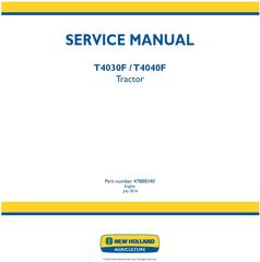 New Holland T4030F, T4040F Tractor Service Manual (Latin America)
